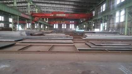 The sand blasting and shop primer of JIS G 3101 SS400 steel plates