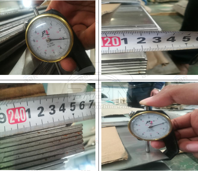 Inspection Report of 316L stainless steel plate, 316L stainless steel angle and 6061 aluminum angle